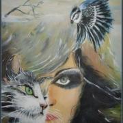 Femme chat oiseau